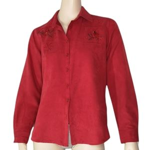 Vintage Northern Reflections Faux Suede Cardinal Red Shirt